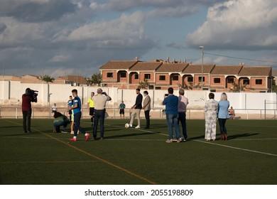 Javalí Nuevo, Murcia, Spain; 10 09 2021: Rafa Mir taking the ceremonial kick-off at the Javalí Nuevo soccer field, Murcia, after naming the stadium after him