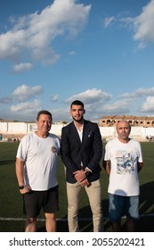 Javalí Nuevo, Murcia, Spain; 10 09 2021: Rafa Mir and his first two coaches at the soccer field in Javalí Nuevo, Murcia, being honored for the Olympic silver medal at Tokyo 202021
