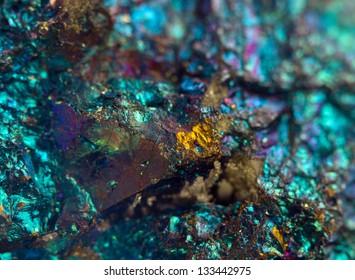 Nugget, colour metal. Macro. Extreme closeup