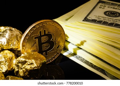 Nugget gold and dollar bills business concept