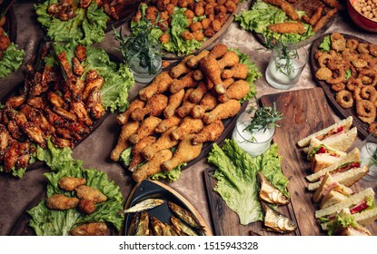 Nugget heaven with chicken thighs, chicken meatball, onion rings, marinated chicken wings