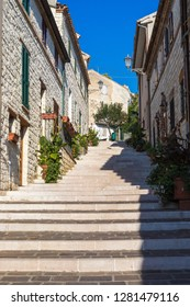 Numana, Ancona. Nov 2018: The stairway of Numana Sirolo, Ancona Mount Conero Marche Italy - beautiful tiny pearl of the Adriatic Sea