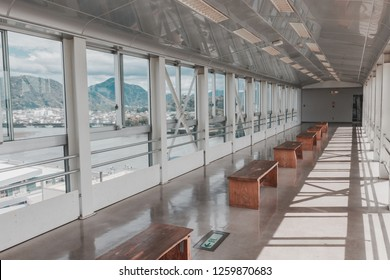 "Numazu, Japan - April 12, 2017: Observation Deck on the top of Numazu large flood gate ""View-O"". This building was built to observe and prevent the city of Numazu from tsunami"