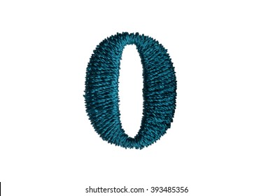 Number 0, alphabet of green thread isolated on white background