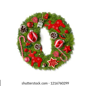 Number 0. Christmas tree decoration on a white background