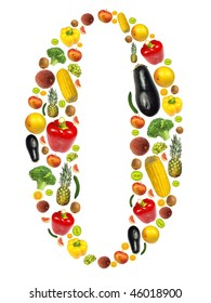 """Number """"0"""" made of fruit and vegetable"""