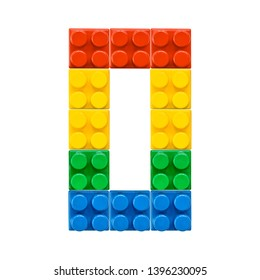 Number 0 zero null Isolated on white backdrop from colorful plastic toy brick block constructor. Mosaic font numerals for poster, banner, print for kids. Concept education, learning numbers.  Set