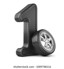 Number 1 from car rubber tire. First place in the competition of auto racing. Award for victory - winner concept. 3d Illustration over white background.