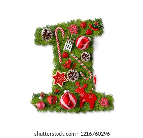 Number 1. Christmas tree decoration on a white background