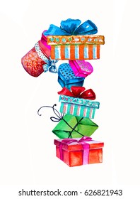 Number 1 from gift boxes with with bows and ribbons. Watercolor illustration for celebration