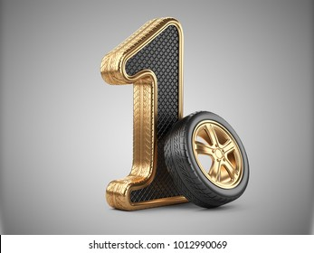 Number 1 from golden car tire. First place in the competition of auto racing. Award for victory - winner concept. 3d Illustration over white background.