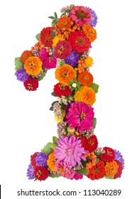 number 1 made from flowers