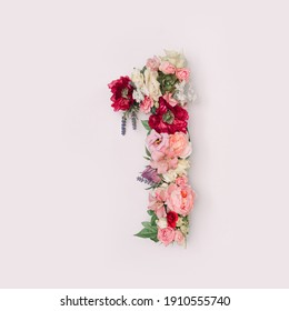 Number 1 made of real natural flowers and leaves. Flower font concept. Unique collection of letters and numbers. Spring, summer and valentines creative idea. - Shutterstock ID 1910555740