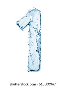 Number 1 made with a splashes of water isolated on white background