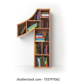 Number 1 one. Alphabet in the form of shelves with books isolated on white. 3d illustration
