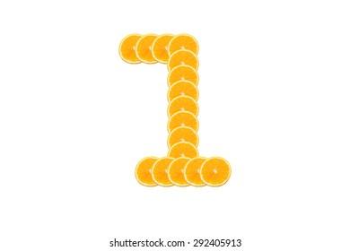 Number 1 (one) alphabet, Made of sliced citrus, orange fruit Isolated on white background.