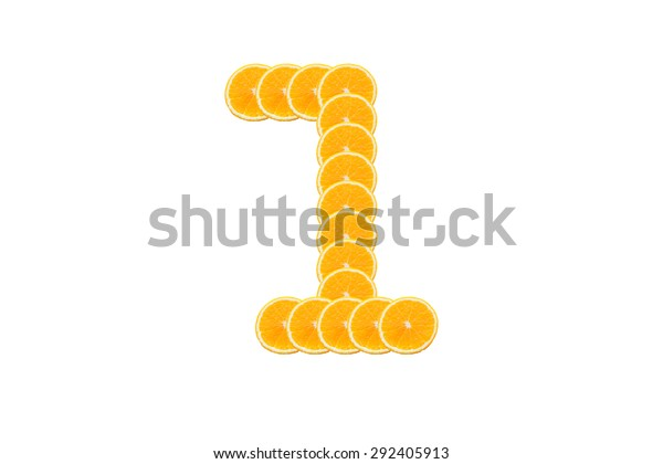Number 1 (one) alphabet, Made of sliced citrus, orange fruit Isolated on white background.