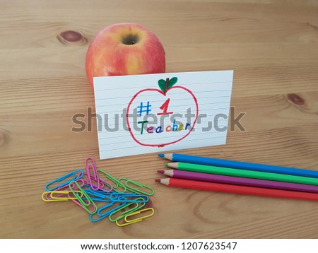 Number 1 Teacher Sign Apple Colored Stock Photo Edit Now