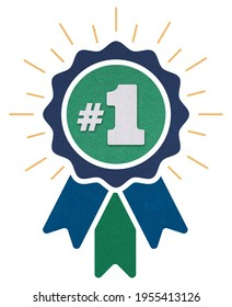 Number #1 winner ribbon award badge. Icon number one, first, champion, winner, leader. Vector illustration for apps and websites, sport competition honor, achievement leadership, victory, 1st success. - Shutterstock ID 1955413126