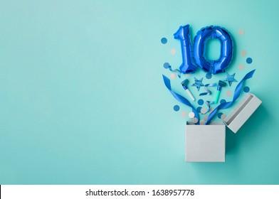 Number 10 birthday balloon celebration gift box lay flat explosion
