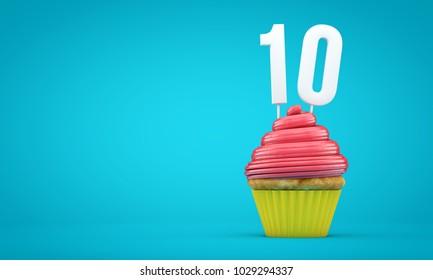Number 10 birthday celebration cupcake. 3D Rendering