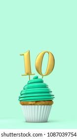Number 10 mint green birthday celebration cupcake. 3D Rendering