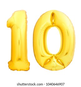 Number 10 ten made of golden inflatable balloon isolated on white background