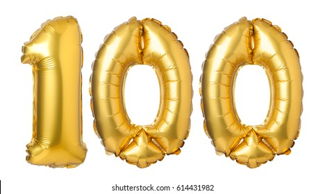 Number 100 of golden balloons isolated on a white background