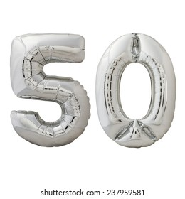 Number 100 silver balloon isolated on a white background