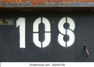 number 108, stenciled