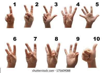 Number 1-10  kid hand spelling american sign language ASL on white background