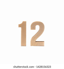Number 12 made in wood on isolated background