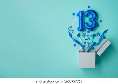 Number 13 birthday balloon celebration gift box lay flat explosion