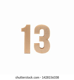 Number 13 made in wood on isolated background