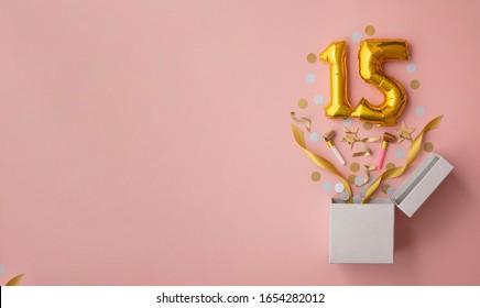 Number 15 birthday balloon celebration gift box lay flat explosion