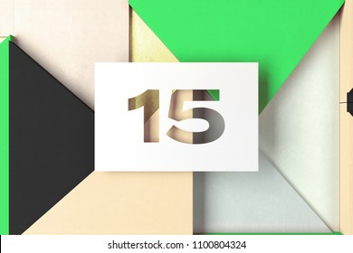 Number 15 on Green and Golden Triangle Geometric Pattern. 3D Illustration of White Number 15 Fifteen on Beige and Glitter Geometric Background.