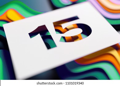 Number 15 on Mint Color and Yellow Layered Background. 3D Illustration of Number 15 Fifteen for Kids Patterns.