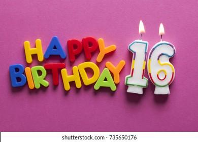 Number 16 happy birthday celebration candle