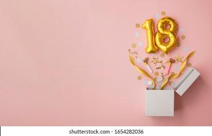 Number 18 birthday balloon celebration gift box lay flat explosion