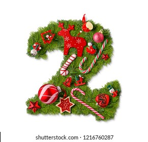 Number 2. Christmas tree decoration on a white background
