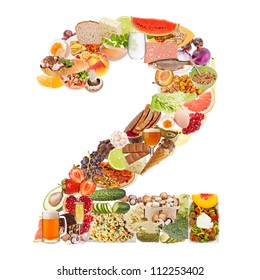 Number 2 made of food isolated on white background