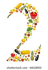 """Number """"2"""" made of fruit and vegetable"""
