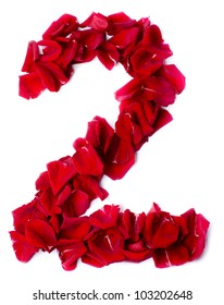 number 2  made from red petals rose