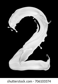 Number 2 made from splashes of milk on black background