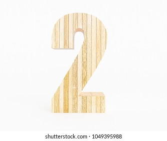 Number 2 made with wood on a white background. 3d Rendering.