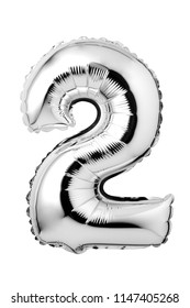 Number 2 of silver foil balloon isolated on a white background