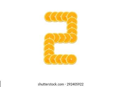 Number 2 (two) alphabet, Made of sliced citrus, orange fruit Isolated on white background.