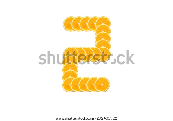 Number 2 (two) alphabet, Made of sliced citrus, orange fruit Isolated on white background.