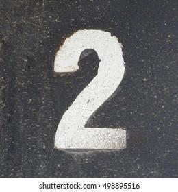 number 2, white on black