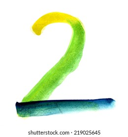 Number 2 written with a brush. Hand drawn letters. Watercolor.